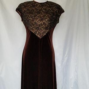 Vintage Spiegel Velvet Chocolate Brown Lace